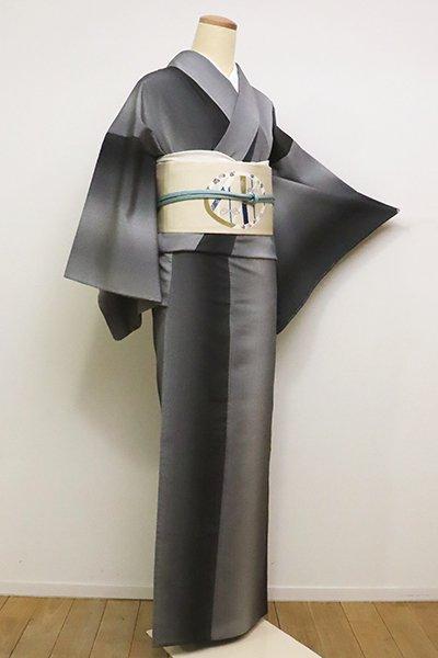 銀座【A-2848】単衣 本塩沢 墨色濃淡 竪暈かし(しつけ付)