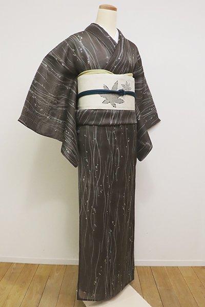 銀座【D-2280】(L・広め)絹芭蕉 小紋 黒橡色 流線にあぶくの図(しつけ付・高島屋扱い)