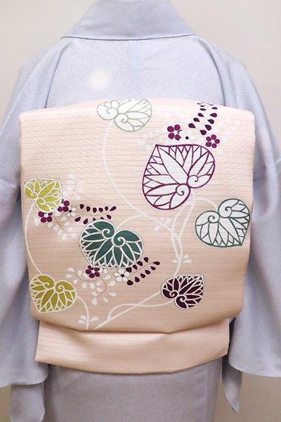 あおき【K-6151】菱健製 絽塩瀬 染名古屋帯 淡い一斤染色 葵の図(N)