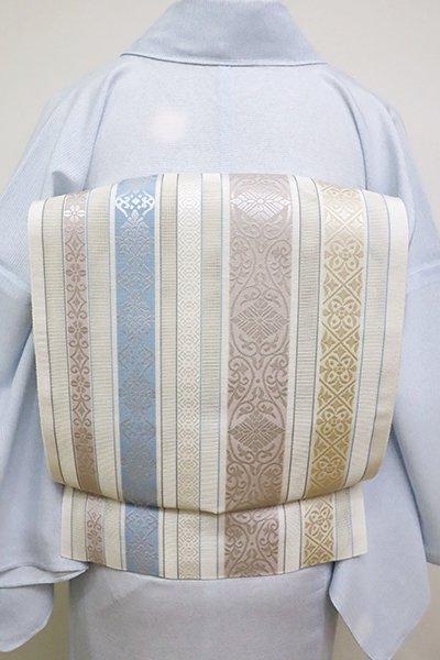 銀座【K-6152】本場筑前博多織 紗 八寸名古屋帯 練色 多彩な縞に装飾文(証紙付)(N)