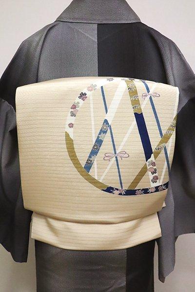 あおき【K-6153】絽塩瀬 染名古屋帯 淡い蜂蜜色 装飾文(N)