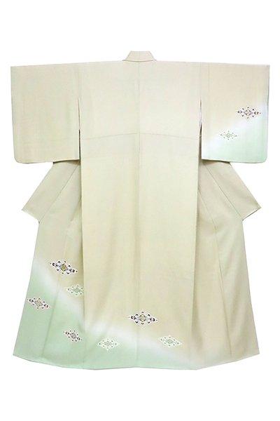 銀座【着物2502】付下げ 亜麻色×青磁鼠色 裾暈かしに装飾菱文 (銀座もとじ扱い)