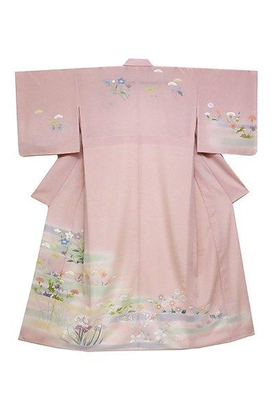 あおき【着物2506】絽縮緬地訪問着 灰桜色 折々の花図 (しつけ付)