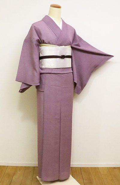 あおき【C-1660】(細め)絽 両面染 江戸小紋 京紫色 鮫(しつけ付)
