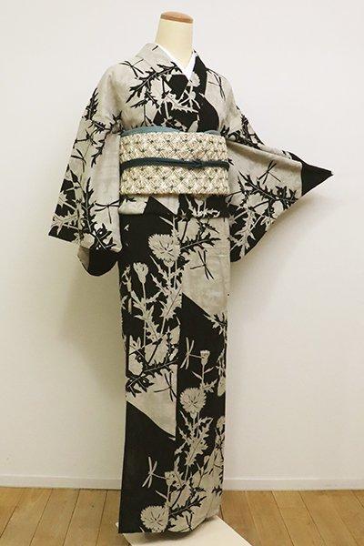 銀座【D-2282】(S・細め)綿紋紗地 浴衣 黒色×絹鼠色 薊と蜻蛉の図