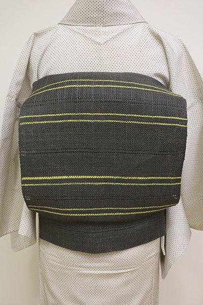 銀座【K-6158】小千谷 麻地 捩り織り 八寸名古屋帯 墨色×黄色 横段