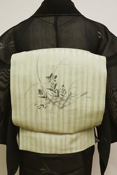 あおき【K-6161】麻地 染名古屋帯 淡い柳茶色 秋草の花籠の図(落款入)
