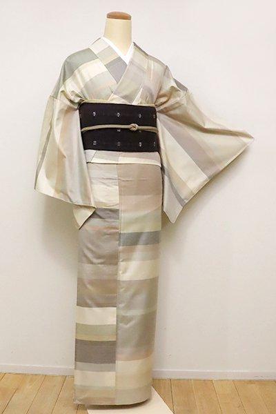 あおき【A-2851】単衣 紬 練色地 優しい淡彩の横段(しつけ付)