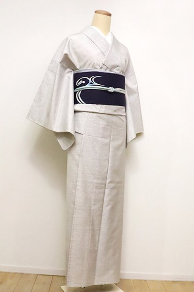 WEB限定【A-2852】単衣 本場白大島紬 白練色 斜め格子(証紙付)