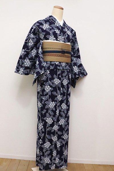 銀座【D-2285】綿コーマ 浴衣 濃藍色 紫陽花の図(しつけ付)