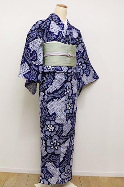 銀座【D-2286】(S)木綿 絞り染め浴衣 紺色 花の図