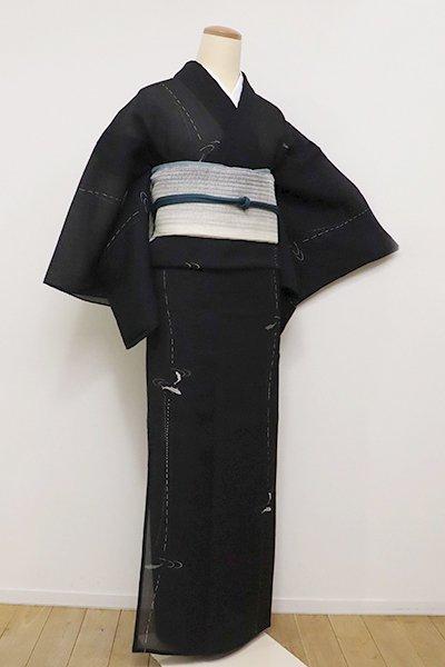 銀座【D-2288】(S)夏 絹縮地 小紋 黒色 魚の図