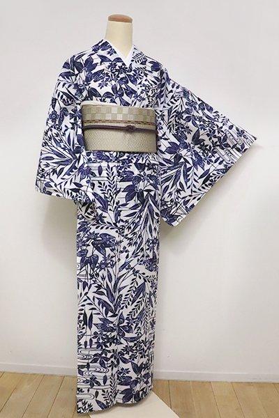 銀座【D-2290】(細め)綿絽 浴衣 白色×藍色 流水に花々の図