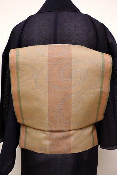 あおき【K-6164】紗 織名古屋帯 伽羅色 縞に流水文