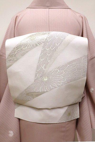 銀座【K-6166】西陣 洛陽織物製 夏 織名古屋帯 白色 菊文(証紙付・落款入)