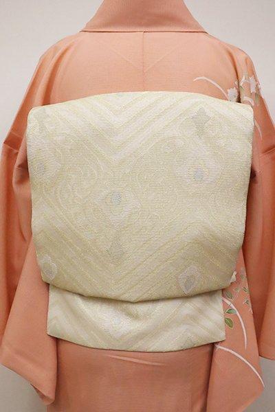 銀座【L-4546】紗 袋帯 象牙色 装飾文の段