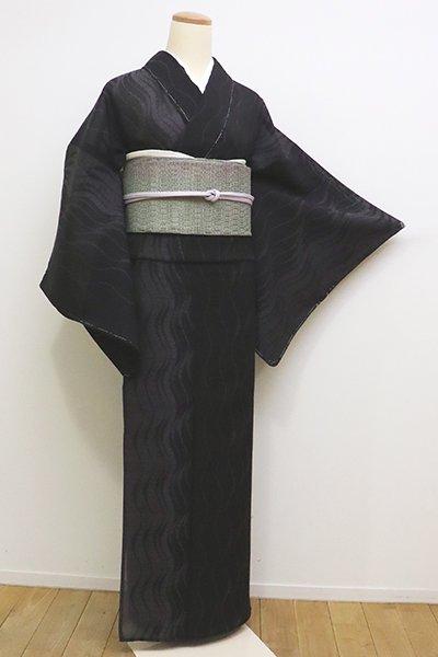 銀座【A-2853】夏大島紬 黒色 流線の図(しつけ付・証紙付)