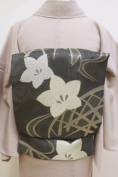 あおき【K-6171】絽 京袋帯 羊羹色 蛇籠に桔梗の図