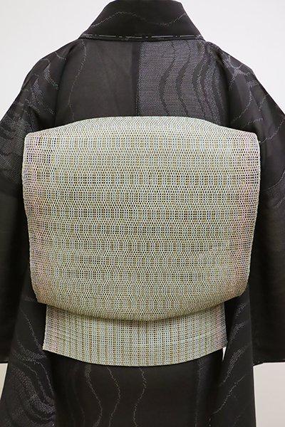 あおき【K-6172】粗紗 八寸名古屋帯 鶸茶色 幾何文