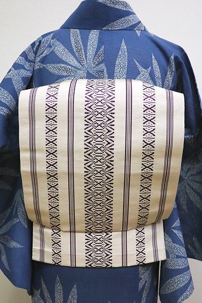 銀座【K-6173】博多織 八寸名古屋帯 練色×深紫色 献上柄
