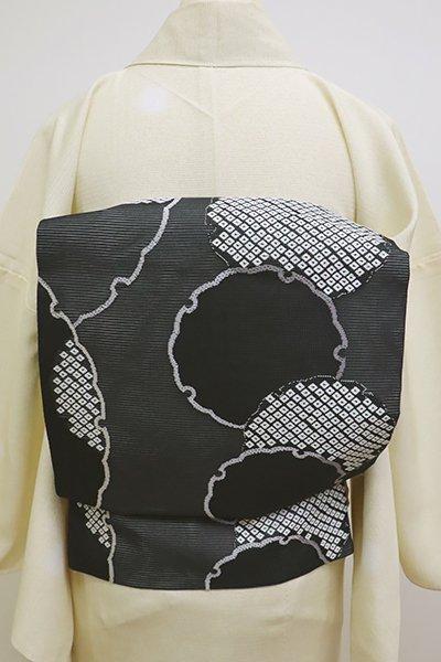 あおき【K-6174】絽 織名古屋帯 黒色 雪輪文