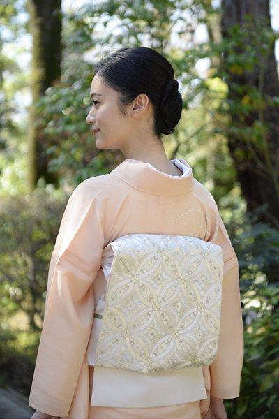銀座【帯3054】西陣 河村織物製 絽 刺繍袋帯 練色 七宝文 (銀座もとじ扱い)