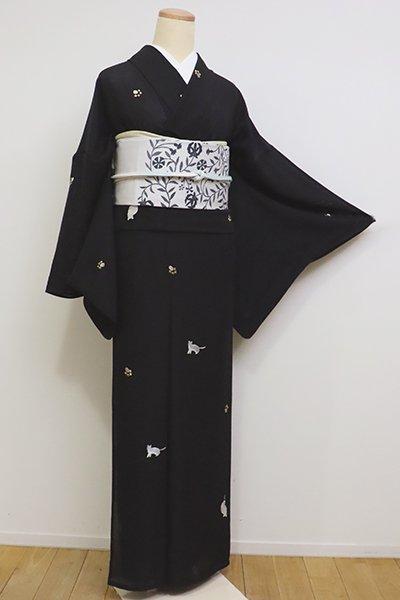 銀座【D-2296】竪絽 小紋 黒色 猫と足跡の図