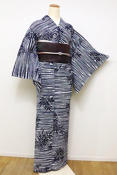 銀座【D-2299】(S・細め)三勝製 綿絽 浴衣 白色×濃藍色 潮葦の図
