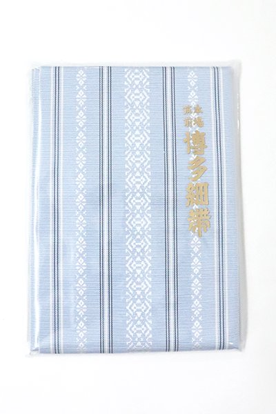 銀座【K-6181】本場筑前博多織 半幅帯 白縹色×白色 献上柄(証紙付)(N)