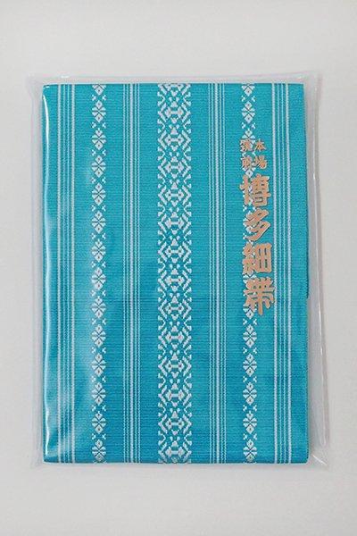 銀座【K-6182】本場筑前博多織 半幅帯 花浅葱色×白練色 献上柄(証紙付)(N)