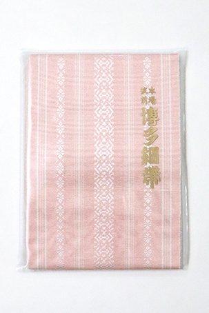 銀座【K-6183】本場筑前博多織 半幅帯 虹色×白色 献上柄(証紙付)(N)