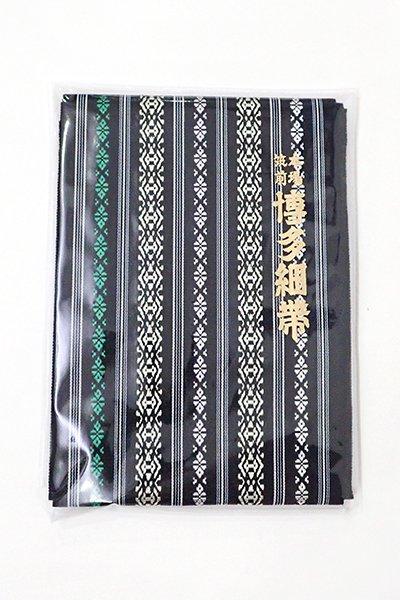 銀座【K-6184】本場筑前博多織 半幅帯 黒色×常盤色×鳥の子色 献上柄(証紙付)(N)