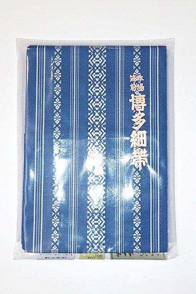銀座【K-6185】本場筑前博多織 半幅帯 紺色×白練色 献上柄(証紙付)(N)