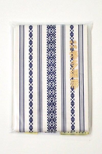 銀座【K-6186】本場筑前博多織 半幅帯 白色×留紺色 献上柄(証紙付)(N)