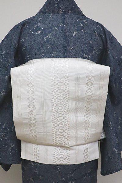 WEB限定【K-6190】博多織 八寸名古屋帯 白色 献上柄