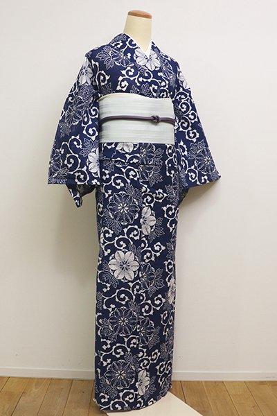 銀座【D-2303】綿絽 浴衣 白色×濃藍色 鉄線唐草文