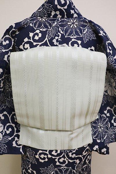 銀座【K-6195】本場筑前博多織 紗献上 八寸名古屋帯 淡い白緑色(証紙付)(N)