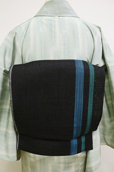 あおき【K-6196】麻地 織八寸名古屋帯 黒色 竪縞