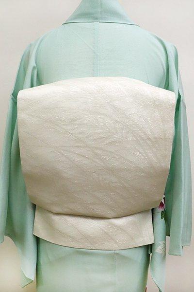 WEB限定【L-4552】紗 本袋帯 白色×白練色 段暈かしに芒の図