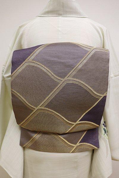 銀座【L-4553】絽 袋帯 深い紫苑色 瓦文