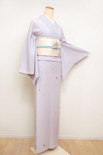 あおき【D-2308】絽 刺繍小紋 白藤色 源氏香に幾何文(しつけ付)(N)