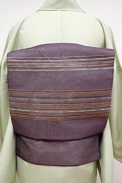 あおき【K-6199】紗 織名古屋帯 濃鼠色 多彩な横段
