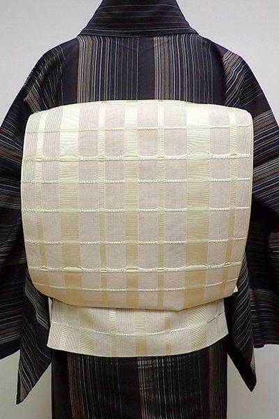 銀座【K-6201】博多織 紗 八寸名古屋帯 薄卵色 吉野格子