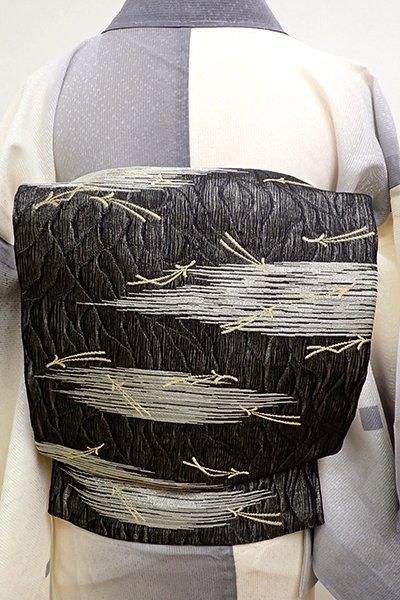 あおき【L-4554】夏袋帯 よろけ織 黒色 霞に松葉散らし