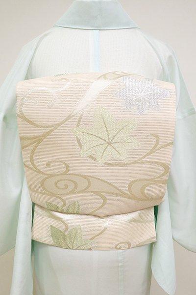 あおき【L-4558】絽 袋帯 薄卵色 流水に楓の図