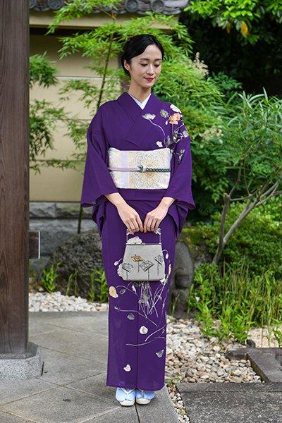 あおき【着物2519】大彦製 絽訪問着 本紫色 雛芥子の花 (落款入)