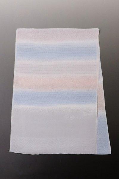 銀座【G-1309】京都衿秀 絽 帯揚げ 虹色×空色×白梅鼠色 段暈かし