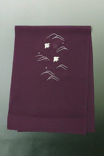 銀座【G-1318】京都衿秀 絽縮緬 刺繍 帯揚げ 似せ紫色×白×銀 波千鳥の図