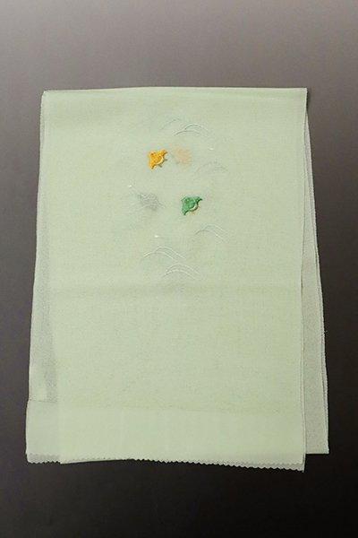 あおき【G-1319】京都衿秀 絽縮緬 刺繍 帯揚げ 若芽色×黄支子色×薄緑色 波千鳥の図