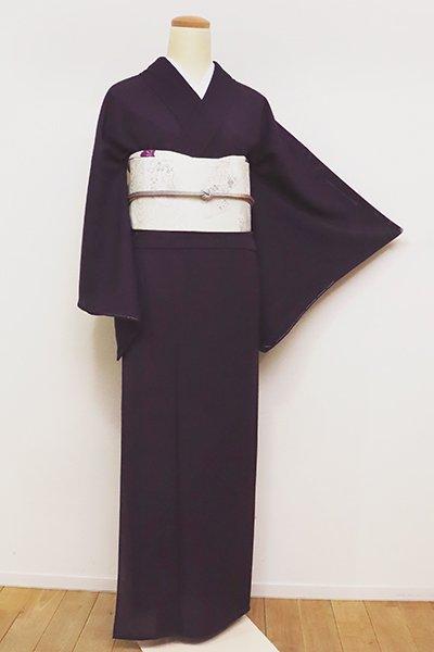 銀座【C-1666】絽 繍一ッ紋 色無地 深紫色